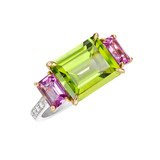 &quot;Florentine&quot; Emerald-Cut Peridot &amp; Pink Sapphire Ring