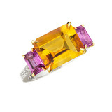 &quot;Florentine&quot; Emerald-Cut Citrine &amp; Pink Sapphire Ring