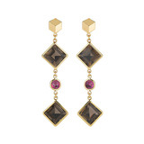 "Smoky Topaz & Ruby ""Florentine"" Drop Earrings"