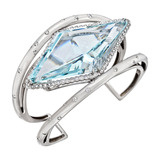 Aquamarine & Diamond Cuff Bracelet