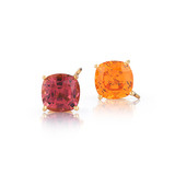 Mandarin Garnet & Pink Tourmaline Stud Earrings