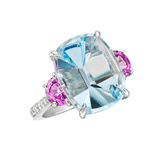 Mirror-Cut Aquamarine &amp; Pink Sapphire Ring
