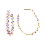 """Ombre"" Pink Sapphire Oval Hoop Earrings"