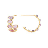 Small &quot;Ombre&quot; Pink Sapphire Hoop Earrings