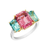 Pink &amp; Blue Tourmaline 3-Stone Ring