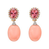 Pink Coral & Diamond Earring Pendants