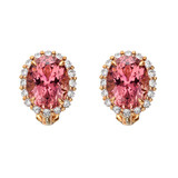 Pink Tourmaline & Copper Diamond Earring Tops