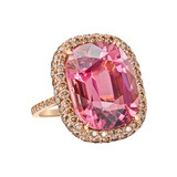 Pink Tourmaline &amp; Cognac Diamond Cocktail Ring