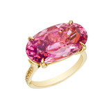 Pink Tourmaline &amp; Yellow Diamond Ring
