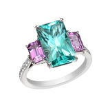 Mint Tourmaline &amp; Pink Sapphire Ring