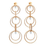 "18k Rose Gold & Diamond ""Brillante Circle"" Long Drop Earrings"