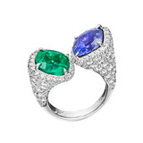 Emerald &amp; Sapphire Twin Ring