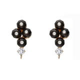 Smoky Quartz, Diamond & White Sapphire Earring Tops