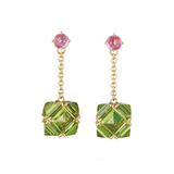Peridot & Pink Sapphire Chain Drop Earrings