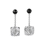 White Topaz &amp; Black Diamond Chain Drop Earrings
