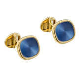 """Ellipse"" 18k Gold & Blue Enamel Cufflinks"