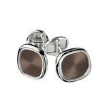 18k White Gold & Brown Enamel Ellipse Cufflinks