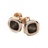 ​18k Rose Gold & Black-Brown Enamel Nautilus Cufflinks