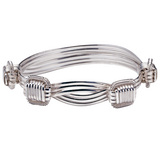 Large Silver Elephant Hair Bangle Bracelet