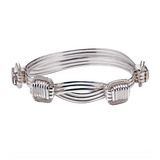 Medium Silver Elephant Hair Bangle Bracelet
