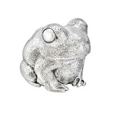 Silver Sitting Toad Sculpture
