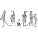 Silver Meerkat Family Sculptures
