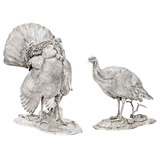 Pair of Silver Turkey Sculptures
