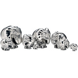 "Silver ""ZoZo"" Elephant Family Sculptures"