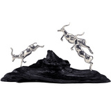 Silver Leaping Impalas Sculpture on Blackwood Base