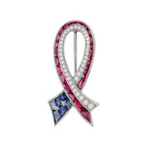 Patriotic Gem-Set Ribbon Pin