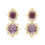"18k Gold & Amethyst ""Raja"" Drop Earrings"