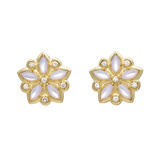 "Moonstone & Diamond ""Appliqué"" Stud Earrings"