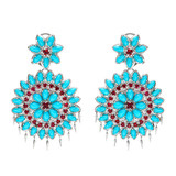 "Large ""Appliqué"" Turquoise & Spinel Drop Earrings"