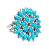 """Appliqué"" Turquoise & Spinel Ring"
