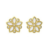 "Mother-of-Pearl & Diamond ""Appliqué"" Stud Earrings"