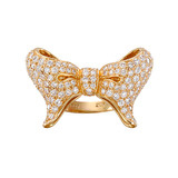 20K Pink Gold & Pavé Diamond Bow Knot Ring