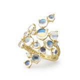 """Bubble Cluster"" Moonstone Ring with Diamond"