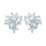 &quot;Bubble Cluster&quot; Aquamarine Clip Earrings with Diamond