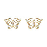 Large 18k Gold & Pavé Diamond Butterfly Earstuds