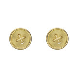 18k Gold Button Stud Earrings