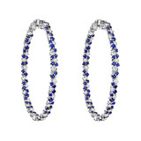 "Large Sapphire & Diamond ""Confetti"" Hoop Earrings"