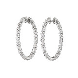 "Medium ​18k White Gold & Diamond ""Confetti"" Hoop Earrings"