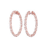 "​Medium ​18k Pink Gold & Diamond ""Confetti"" Hoop Earrings"