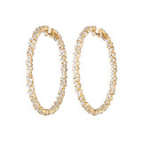 "Large 18k Yellow Gold & Diamond ""Confetti"" Hoop Earrings"