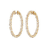 "​Medium 18k Yellow Gold & Diamond ​""Confetti"" Hoop Earrings"