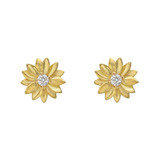 Small 18k Gold Daisy Stud Earrings with Diamond