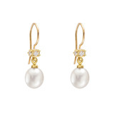 Small Freshwater Pearl Drop Earrings with Diamond