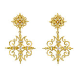 """Garden Gate"" 18k Gold & Diamond Drop Earrings"