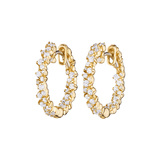 "​Extra Small 18k Yellow Gold & Diamond ""Confetti"" Hoop Earrings"