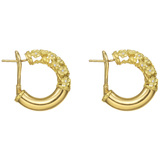 "18k Yellow Gold & Diamond ""Flower Tube"" Hoop earrings"